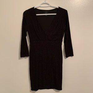 Forever 21 black deep v neck dress